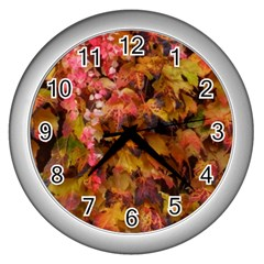 Red And Yellow Ivy Wall Clock (silver) by okhismakingart