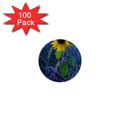 Blue Sunflower 1  Mini Magnets (100 Pack)