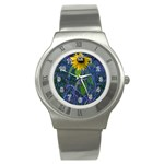 Blue Sunflower Stainless Steel Watch Front