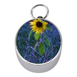 Blue Sunflower Mini Silver Compasses Front
