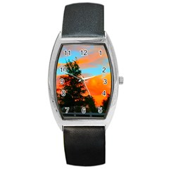 Neon Landscape Barrel Style Metal Watch