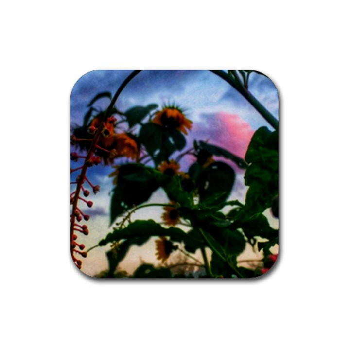 Sunflowers and Wild Weeds Rubber Coaster (Square)