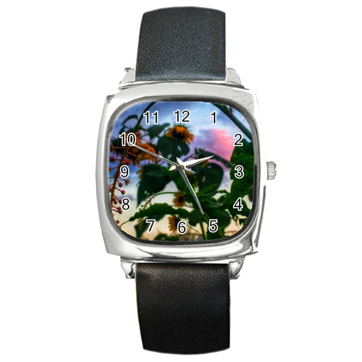 Sunflowers and Wild Weeds Square Metal Watch