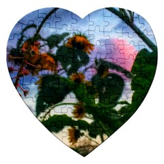 Sunflowers And Wild Weeds Jigsaw Puzzle (heart)