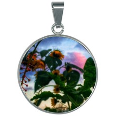 Sunflowers And Wild Weeds 30mm Round Necklace
