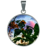 Sunflowers and Wild Weeds 30mm Round Necklace Front