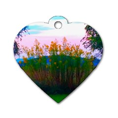Field Of Goldenrod Dog Tag Heart (two Sides)