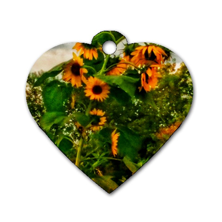 Sunflowers Dog Tag Heart (One Side)