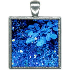 Blue Daisies Square Necklace