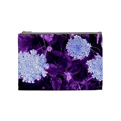 Queen Anne s Lace With Purple Leaves Cosmetic Bag (medium) by okhismakingart