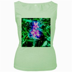 Glowing Flowers Women s Green Tank Top