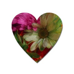 Grainy Green Flowers Heart Magnet by okhismakingart