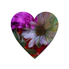 Grainy Green Flower (with Blue Tint) Heart Magnet by okhismakingart