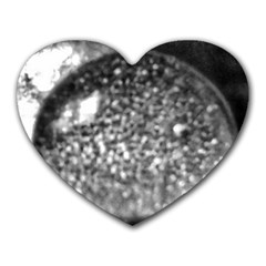Black And White Water Droplet Heart Mousepads by okhismakingart
