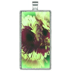 Green Glowing Flower Rectangle Necklace