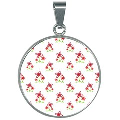 Cute Floral Drawing Motif Pattern 30mm Round Necklace by dflcprintsclothing