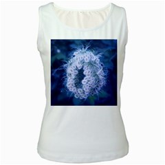 Light Blue Closing Queen Annes Lace Women s White Tank Top