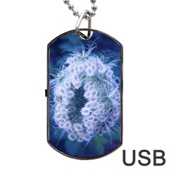 Light Blue Closing Queen Annes Lace Dog Tag Usb Flash (one Side)