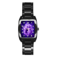 Dark Purple Closing Queen Annes Lace Stainless Steel Barrel Watch