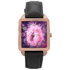 Pink Closing Queen Annes Lace Rose Gold Leather Watch