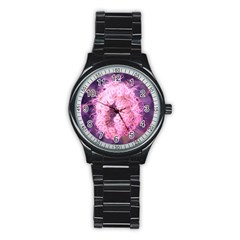 Pink Closing Queen Annes Lace Stainless Steel Round Watch