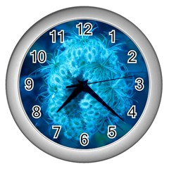 Blue Closing Queen Annes Lace Wall Clock (silver)