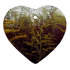 Purple And Yellow Goldenrod Heart Ornament (two Sides)