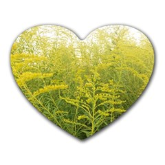 Yellow Goldenrod Heart Mousepads