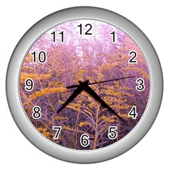 Pink Goldenrod Wall Clock (silver)