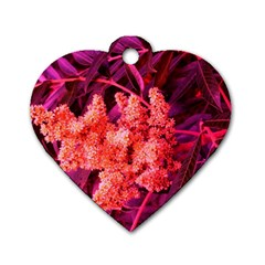 Pink Sideways Sumac Dog Tag Heart (two Sides)
