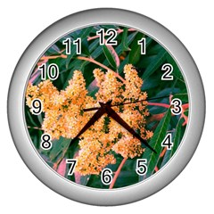 Green And Gold Sideways Sumac Wall Clock (silver)