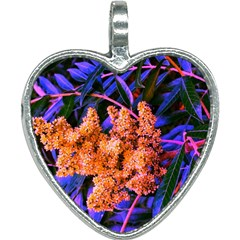 Blue And Gold Sideways Sumac Heart Necklace