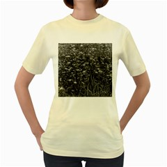 Black And White Queen Anne s Lace Hillside Women s Yellow T Shirt