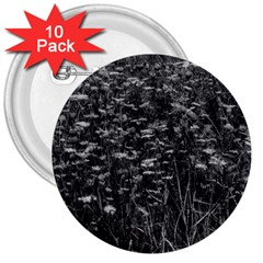 Black And White Queen Anne s Lace Hillside 3  Buttons (10 Pack)