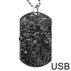 Black And White Queen Anne s Lace Hillside Dog Tag Usb Flash (one Side)