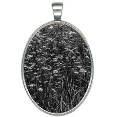 Black And White Queen Anne s Lace Hillside Oval Necklace