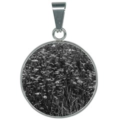 Black And White Queen Anne s Lace Hillside 25mm Round Necklace