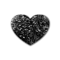 High Contrast Black And White Queen Anne s Lace Hillside Rubber Coaster (heart)