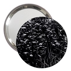 High Contrast Black And White Queen Anne s Lace Hillside 3  Handbag Mirrors