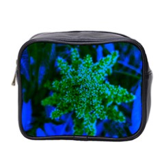 Blue And Green Sumac Bloom Mini Toiletries Bag (two Sides)