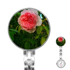 Complex Pink Rose Stainless Steel Nurses Watch