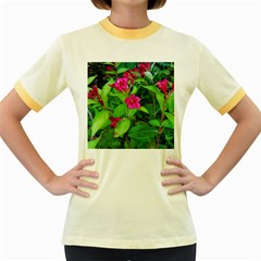 Purple Park Flowers Women s Fitted Ringer T Shirt