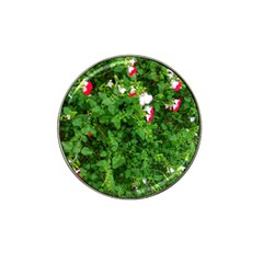 Red And White Park Flowers Hat Clip Ball Marker