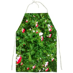 Red And White Park Flowers Full Print Aprons
