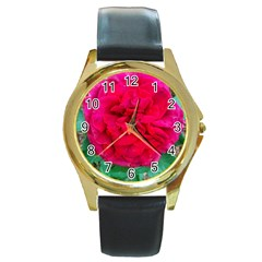Folded Red Rose Round Gold Metal Watch