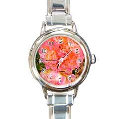 Folded Pink And Orange Rose Round Italian Charm Watch