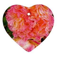 Folded Pink And Orange Rose Ornament (heart)