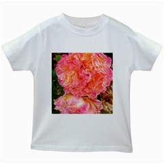 Folded Pink And Orange Rose Kids White T Shirts