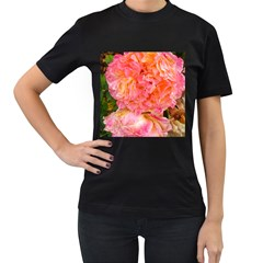 Folded Pink And Orange Rose Women s T Shirt (black)