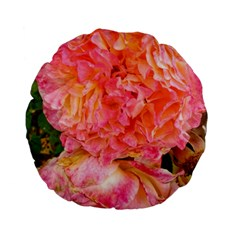 Folded Pink And Orange Rose Standard 15  Premium Flano Round Cushions